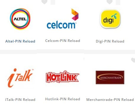 Different telco reload available